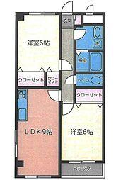 埼玉県草加市長栄3丁目の賃貸マンションの間取り
