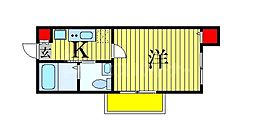 JR総武線 船橋駅 徒歩9分の賃貸アパート 1階1Kの間取り
