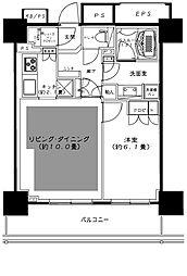 都営新宿線 曙橋駅 徒歩10分の賃貸マンション 6階1LDKの間取り