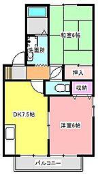 静岡県浜松市東区西ケ崎町の賃貸アパートの間取り