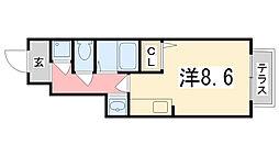 兵庫県姫路市飾磨区中浜町2丁目の賃貸アパートの間取り