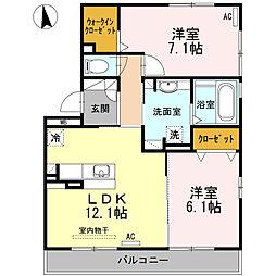 愛知県安城市新明町の賃貸アパートの間取り
