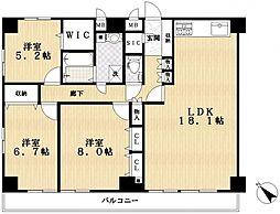 ヴィラコーヨー[6階]の間取り