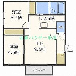 北海道札幌市東区本町二条1丁目の賃貸マンションの間取り
