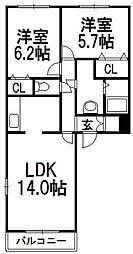 クレスタ西野[2階]の間取り