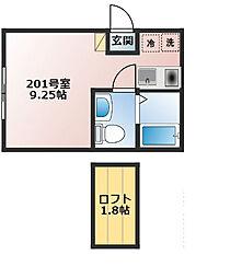 ベイルーム上町屋A棟[201号室]の間取り