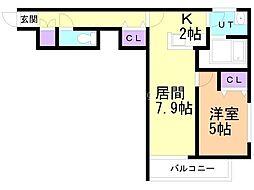 エピカリス上江別 2階1DKの間取り