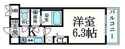 エステムコート新大阪XIIオルティ 6階1Kの間取り