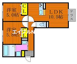 仮)D-room今保 1階2LDKの間取り