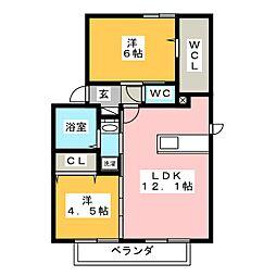 セジュールWIT平井[2階]の間取り