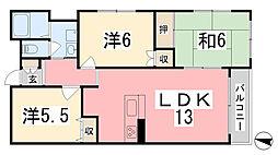 兵庫県姫路市飾磨区下野田1丁目の賃貸マンションの間取り