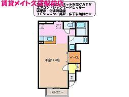 三重県津市久居新町の賃貸アパートの間取り