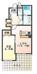 千葉県市原市能満の賃貸アパートの間取り