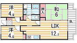 Green Villa Goryo[509号室]の間取り