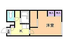 レオパレス三田C館 1階1Kの間取り