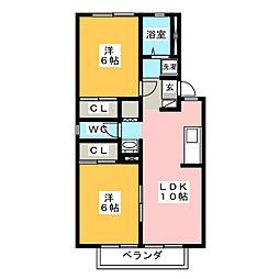 プレジール明和B[2階]の間取り