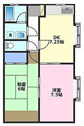 キャッスルオリーブA棟[2階]の間取り
