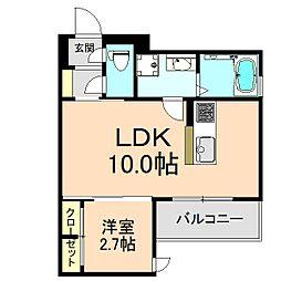 クレアージュ玉井町 2階1LDKの間取り