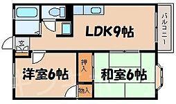 広島県広島市安芸区矢野西3丁目の賃貸アパートの間取り