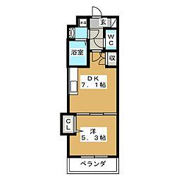 吉祥院マンション(仮) 5階1DKの間取り