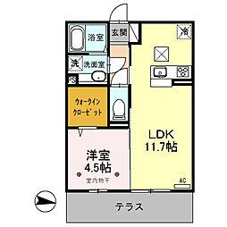 (仮)D-room内ケ島町[102号室]の間取り