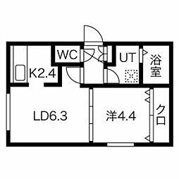 エルフ11 3階1LDKの間取り