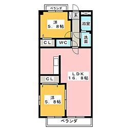 K'S KOUNOMIYA[1階]の間取り