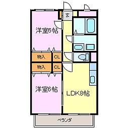 愛知県常滑市大鳥町1丁目の賃貸マンションの間取り