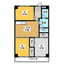愛知県名古屋市西区中小田井4丁目の賃貸マンションの間取り