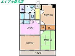 三重県桑名市一色町の賃貸マンションの間取り