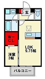 福岡県中間市扇ヶ浦3丁目の賃貸アパートの間取り
