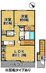 有野町二郎アパート[2階]の間取り