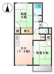 シャンポール下中野A棟[2階]の間取り