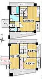 兵庫県西宮市神楽町の賃貸マンションの間取り