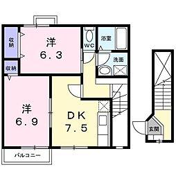 ヴィラ 桜B[0203号室]の間取り