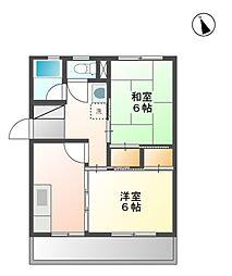 秋山ハイツ B棟[1階]の間取り