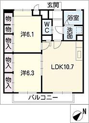アムール上野台II[1階]の間取り