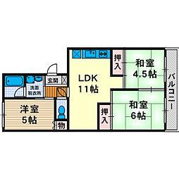 第一石田マンション[0302号室]の間取り