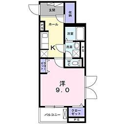 小田急小田原線 本厚木駅 徒歩8分の賃貸マンション 4階1Kの間取り