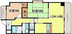 タウンコート咲久良[201号室]の間取り