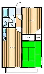 コスモハイツ松木 2階2DKの間取り