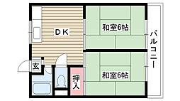 住吉マンション[2B号室]の間取り
