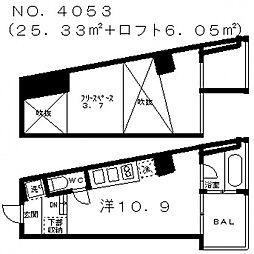 是空天王寺[6階]の間取り