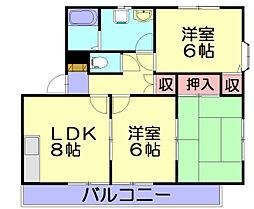 レイクタウン坪見A[2階]の間取り
