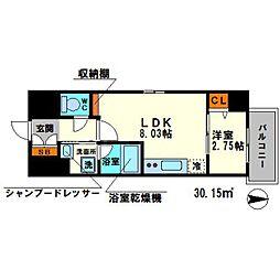 ディームス江坂駅前II 2階1LDKの間取り