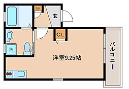 神戸高速東西線 西代駅 徒歩4分の賃貸アパート 1階ワンルームの間取り