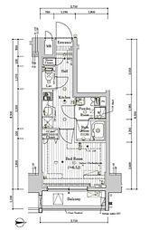 プレール・ドゥーク文京湯島 2階1Kの間取り