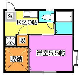 東京都東久留米市金山町1丁目の賃貸アパートの間取り