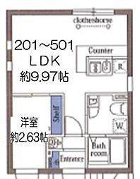 東京メトロ東西線 木場駅 徒歩8分の賃貸マンション 5階1LDKの間取り