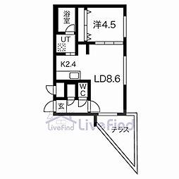札幌市営東西線 白石駅 徒歩9分の賃貸マンション 1階1LDKの間取り